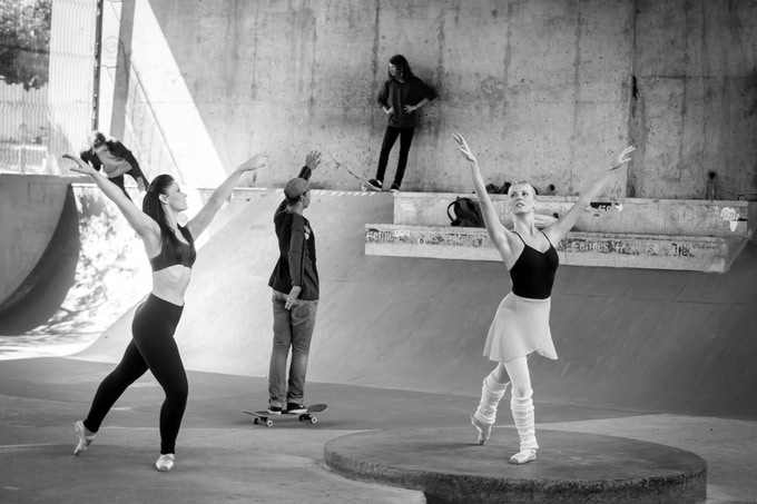 A jovial skateboarder suddenly joins in with dancers Belinda and Sune...