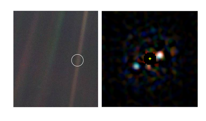 (L) Voyager's pale blue dot photo of Earth from the edge of the solar system (R) A simulated image of the photo we aim to take. (Credit: NASA JPL / Jared Males)