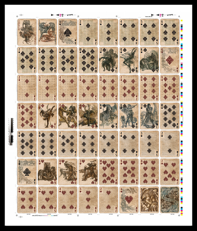 Shown above is a mockup of what the uncut sheet, straight from the printers, will look like. This layout is based on the card arrangement of the United States Playing Card Company (USPCC)