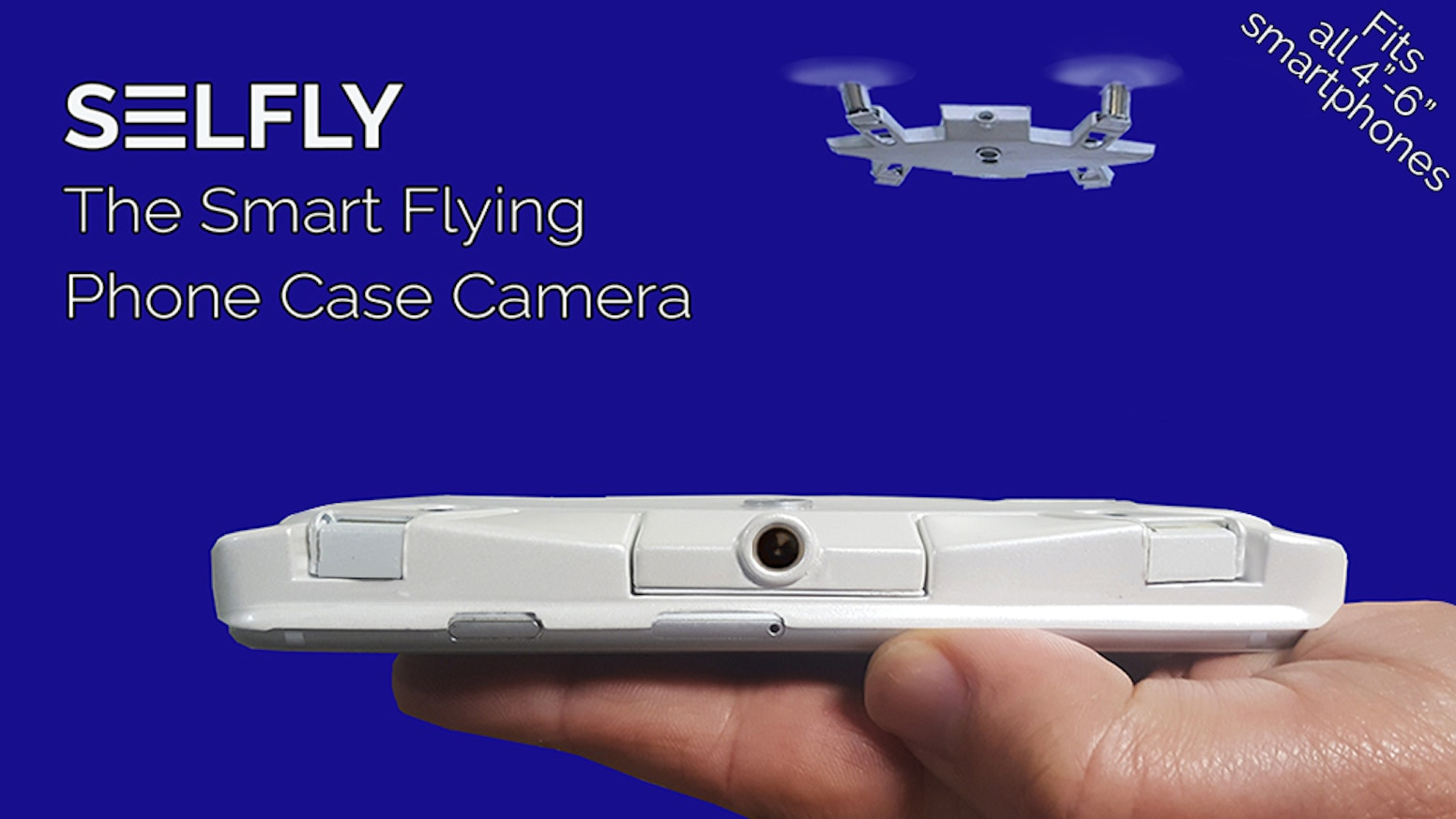 An autonomous flying phone case camera which is only 9mm (3/8in) thin and easily fits in your pocket.