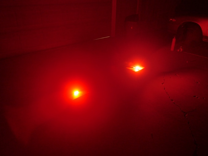 FlarePro™ compared against a real pyrotechnic road flare. It has the same brightness, but no smoke or flame! Indistinguishable from a pyrotechnic flare, you can use it, even in the most intense roadside traffic emergencies.