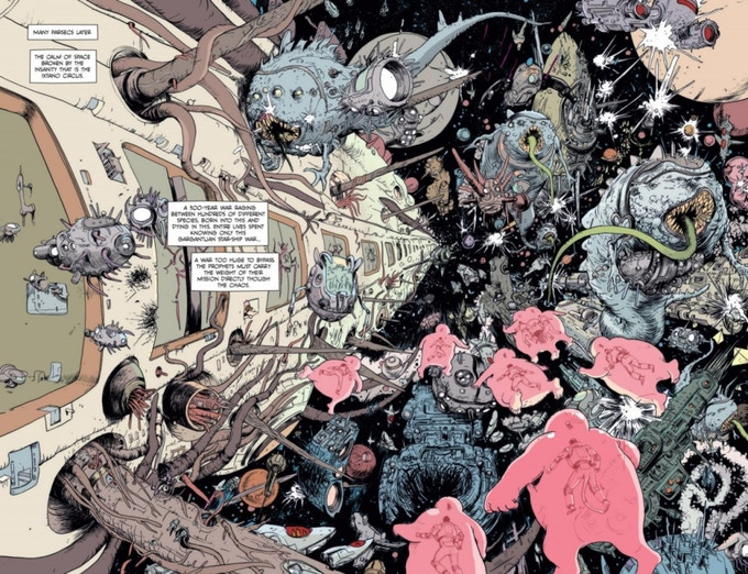Spread by Farel Dalrymple from the pages of PROPHET #29.