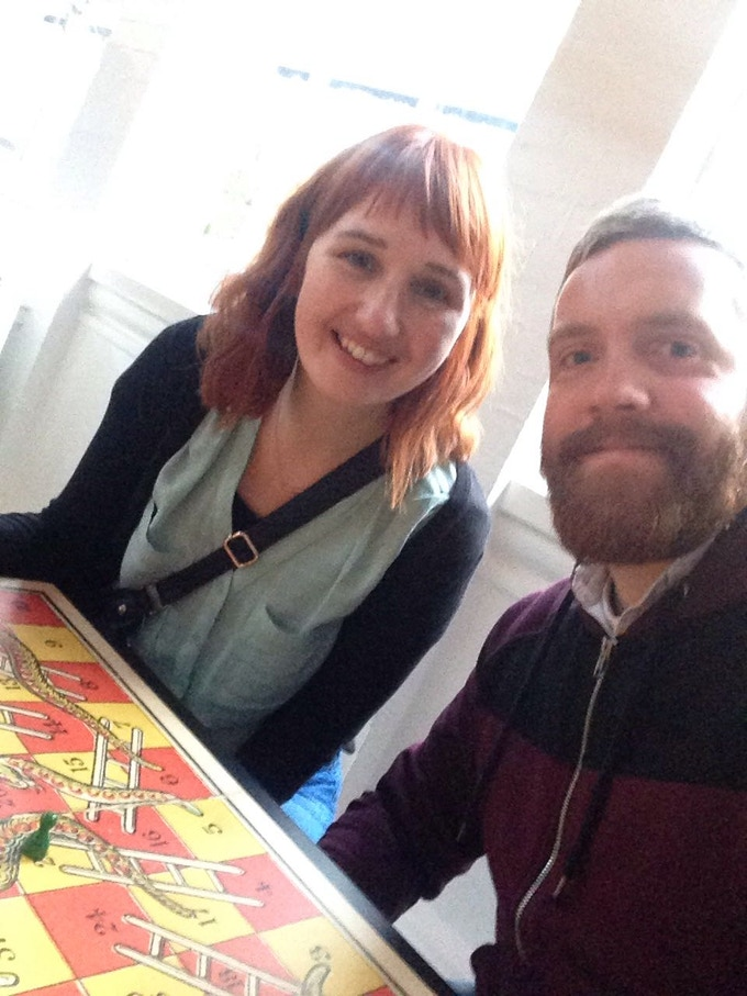 Playing Snakes&Ladders at the V&A Museum of Childhood exhibition; 'Game Plan'