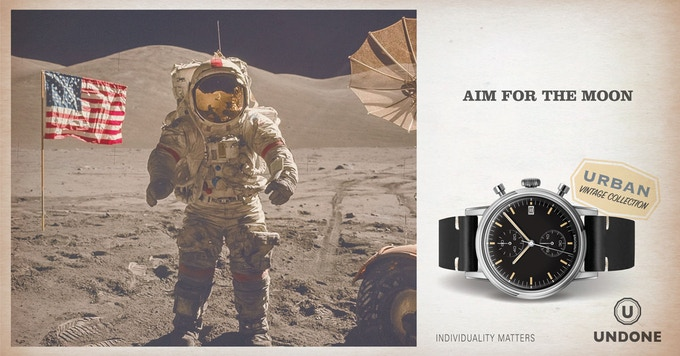 The 'Speedy', inspired by the tone of the Omega Speedmaster, which is the first watch worn on the moon during NASA's Apollo Mission 11 in 1969.