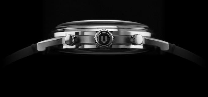 Large Undone signature 'U' signed crown, stepped bezel and pushers, multi-layered case design, alternating polished and brushed case finishing.