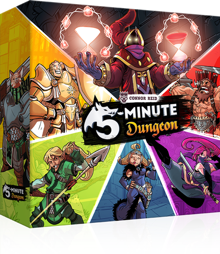 5-Minute Dungeon is a chaotic, cooperative, real-time card game. Battle the clock to defeat each dungeon in less than 5 minutes!