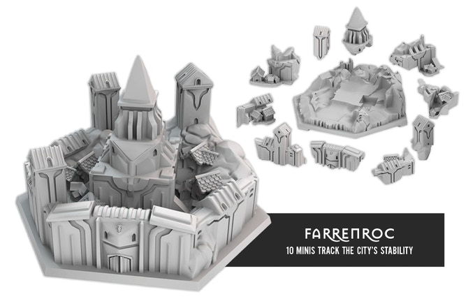 During a siege, damage is tracked by removing pieces from the large Farrenroc miniature.