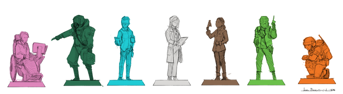 Design Thumbnails for seven Base Figures