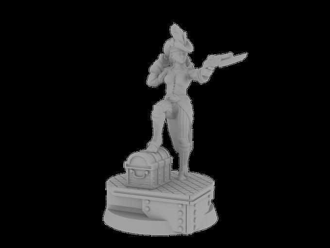 Dread Pirate Ina on Her Custom Designed Base