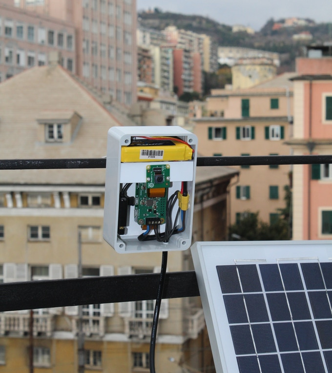 PiSolMan powering Raspberry Pi Zero + Pi Camera + Wi-Fi + 11.1 V Li-Poly Battery + 10 W Solar Panel