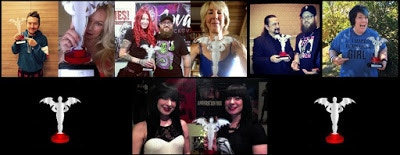 Leigh Whannel, Traci Lords, Jovanka Vuckovic, Lin Shaye, Tom Savini, Lynne Hansen and the Soska Twins all displaying their Fright Meter Awards.