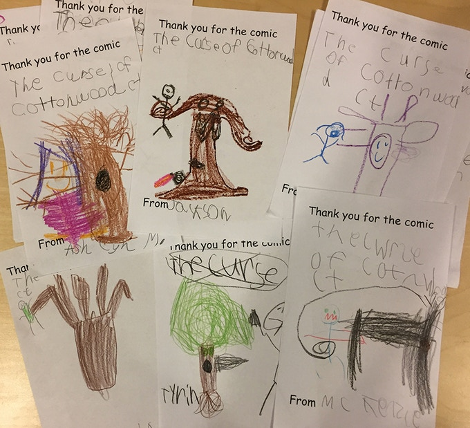 Kids wrote special thank-you notes to James for sharing his comic with them.