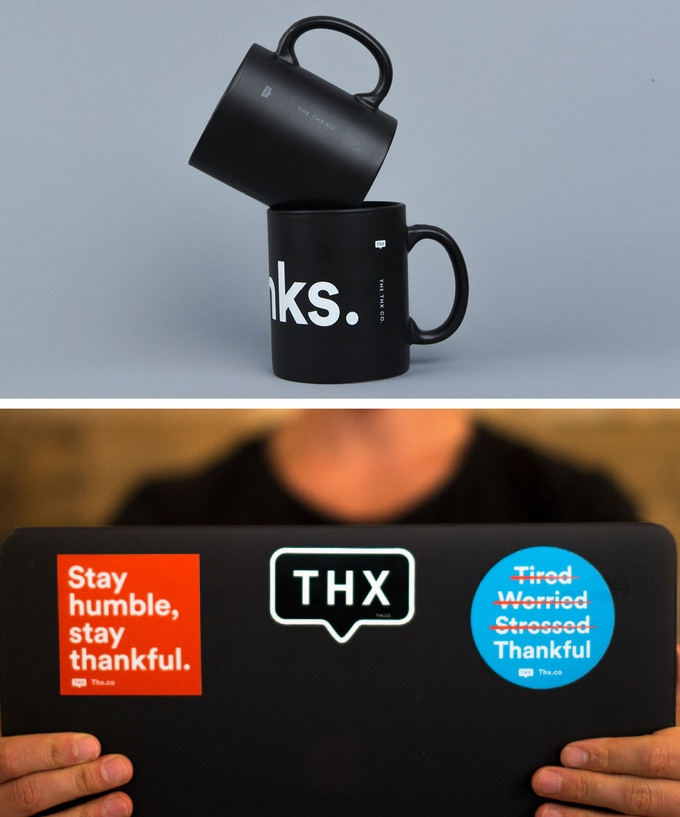 "Matte Black ""Thanks."" (Black on Black or White on Black) Mug + Stickers"