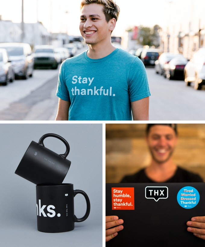 """Stay thankful"" Triblend (Available in Red, Teal, Grey) + Mug + Stickers"