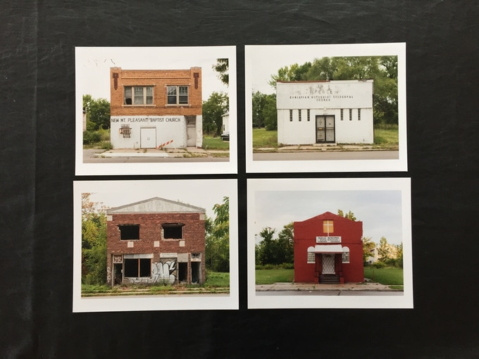 """""""Four Detroit Churches, 2015"""" from past PLAYGROUND Artist-in-Residence, Jani Zubkovs during his time spent in Detroit, 2015. Edition of 10."""