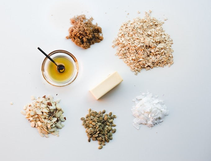 Our base contains whole rolled oats, unsweetened coconut chips, pumpkin seeds, sliced almonds, brown sugar, and of course, local honey and grass-fed butter! All natural ingredients you can recognize.