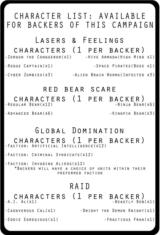 Backers have their likeness used to create any of the above characters (1 per backer).