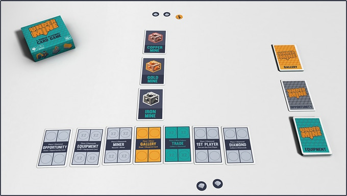 All players start the game with 2 Diamond Tokens. A 2-player game setup looks like this.