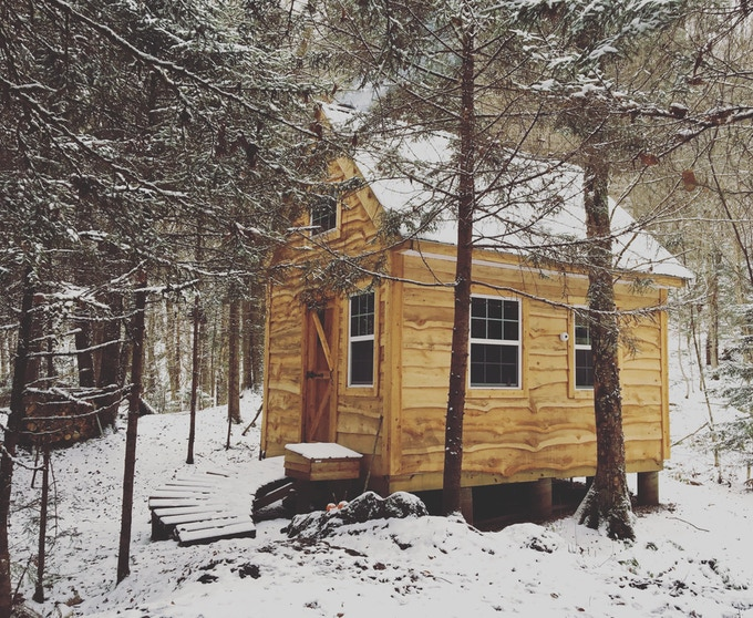 Kyle's tiny house in the woods of northern Vermont.
