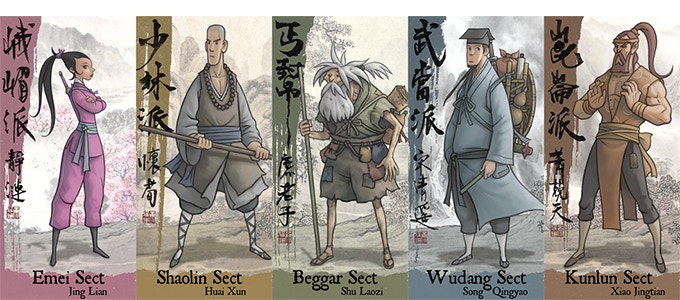 The five sects are Emei (峨嵋), Shaolin (少林), Beggar (丐幫), Wudang (武當) and Kunlun (崑崙).