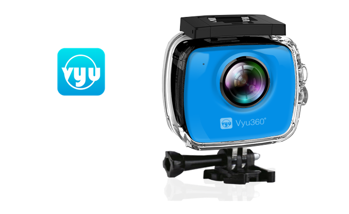 Vyu360®  4K VR Plus, a virtual reality action camera + 3D Dream VR Viewer.  120 Min Battery Life, 32GB Memory  (upto 64GB), 90 Feet Underwater Case.