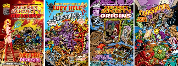 The front and back covers to the LUCY HELL and EDDIE CROSSBONES variant limited editions.