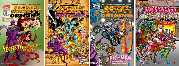 The front and back covers to the EL SECRETO and PIG-MAN variant limited editions.