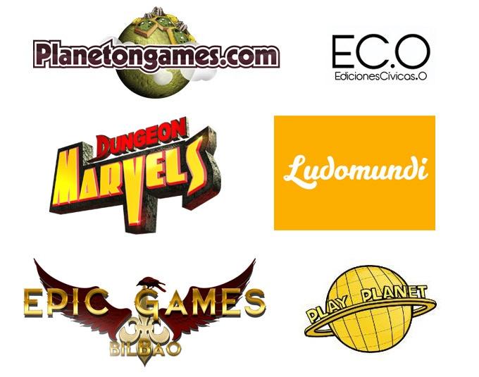 Planetongames.com, Ediciones Cívicas, Dungeon Marvels, Ludomundi, Epic Games (Bilbao) and Play Planet (Málaga).