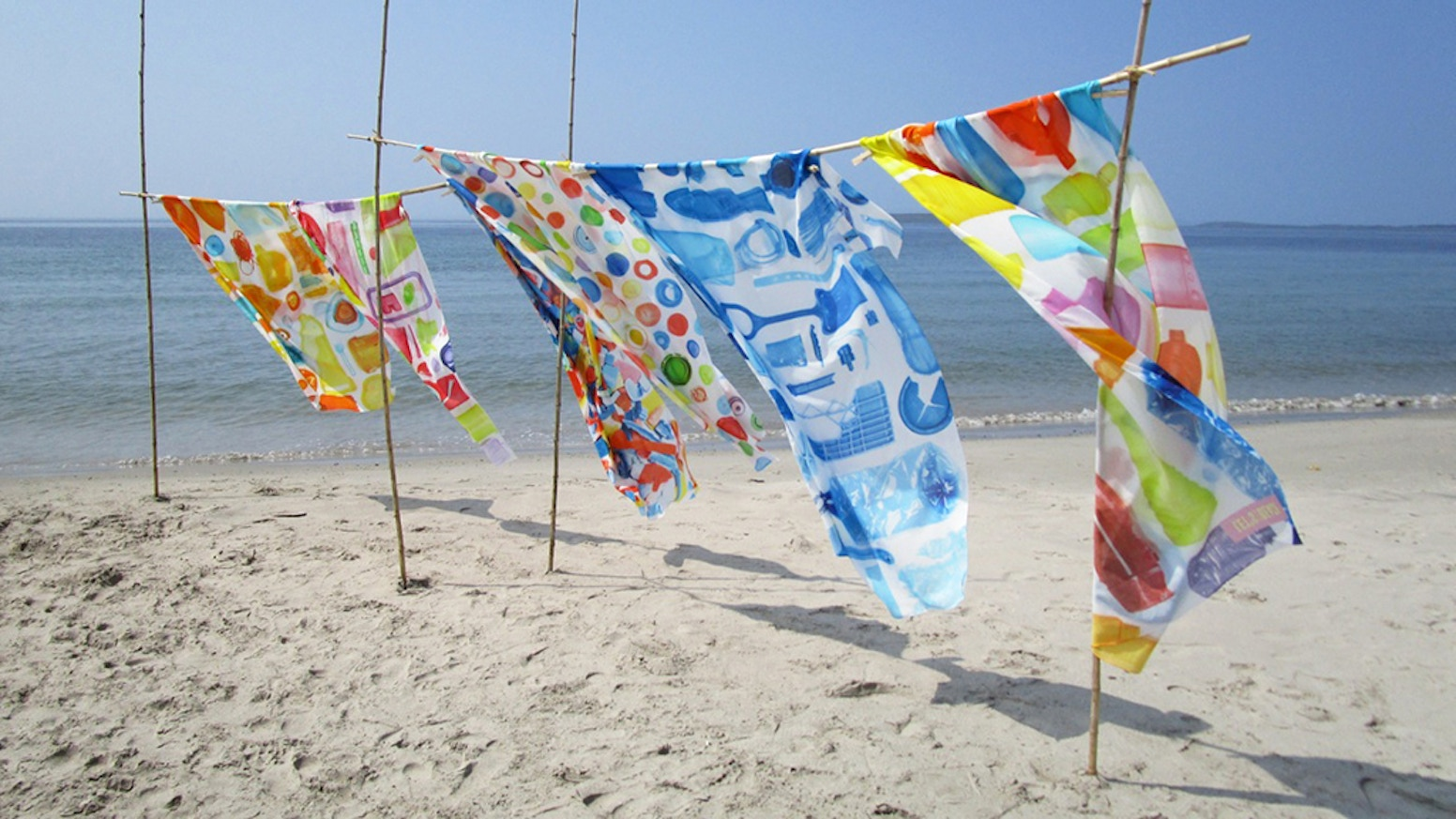 BeachClean Sarongs: unique designs of plastic ocean trash washed up on our beaches. To raise awareness. SAY NO TO A PLASTIC SEA!