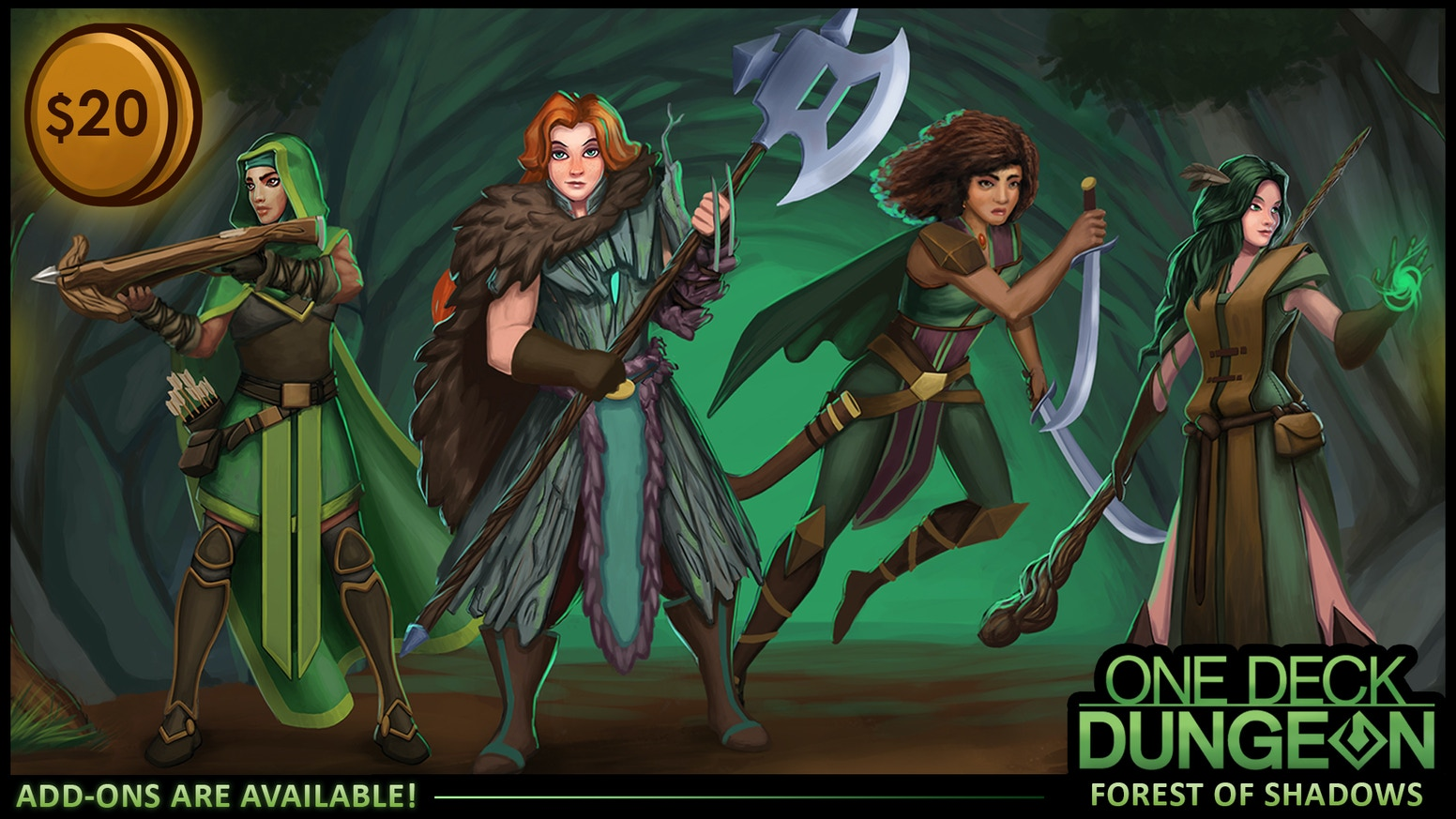 A stand-alone expansion to One Deck Dungeon, featuring new heroes, dungeons, combats, and perils. Get your dice ready for adventure!