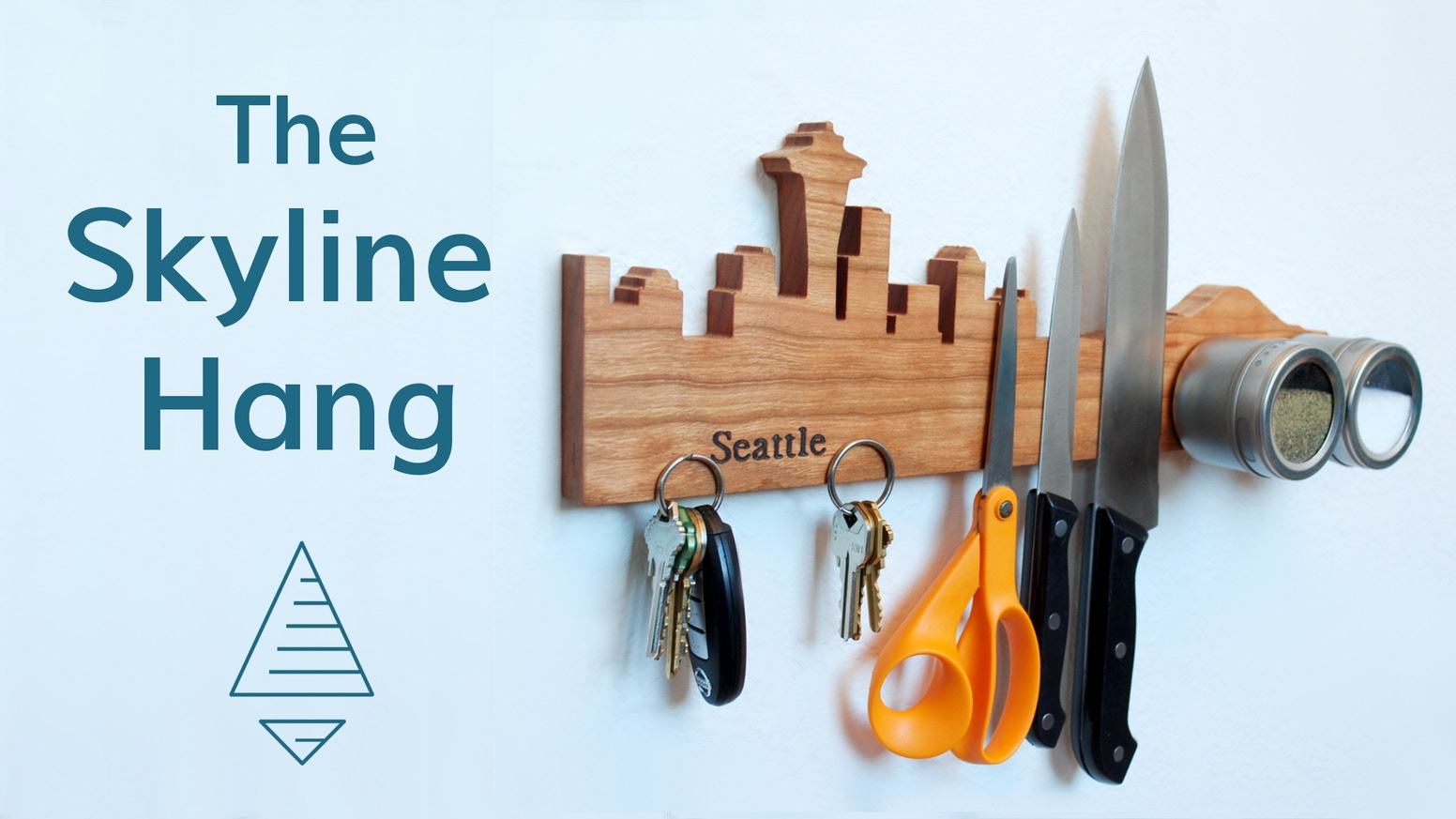 Where is your Skyline? Be proud of the places you love most: a wooden magnetic organizer for knives, tools, keys, & more.