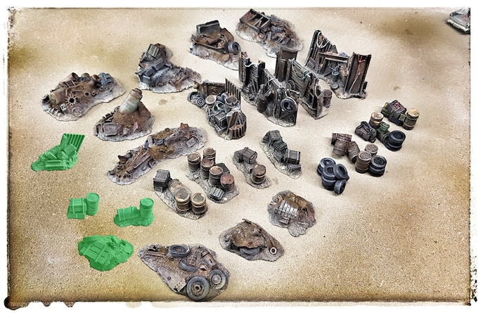 Full scatter terrain set (81,- €) with unlocked stretchgoals