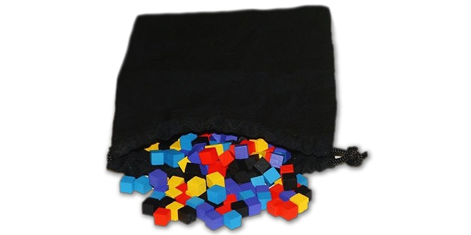 """The Railways of Nippon cloth bag and 125 wooden """"supply"""" cubes"""