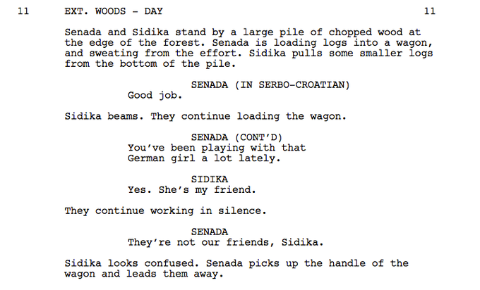 An excerpt from the script!