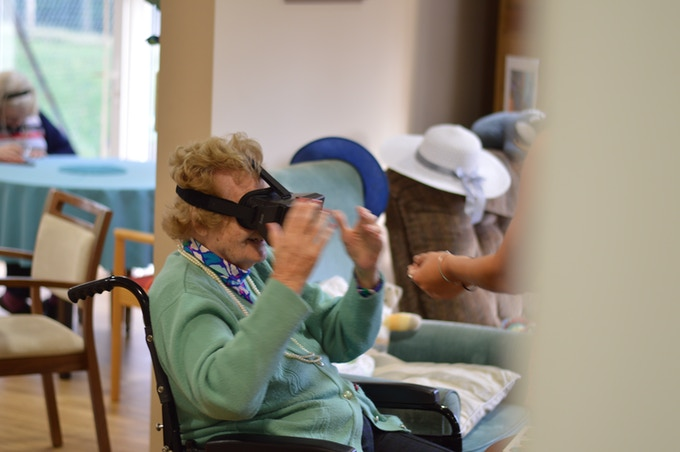 Residents of Huntington House agreed to try Virtual Reality with us.