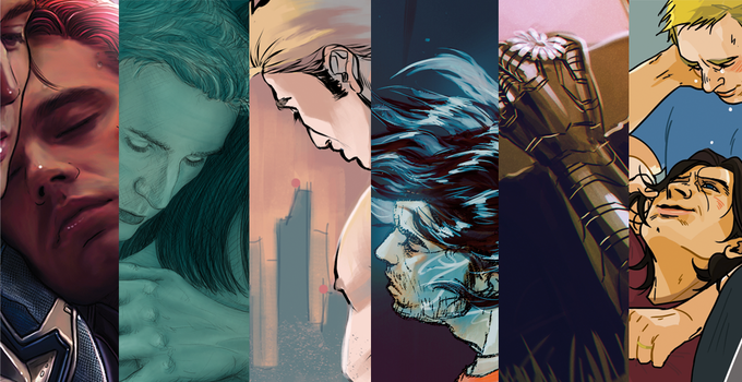 Anthology artwork from Petite-Madame, Drjezdzany, SlippedDee, Larsonschase, Max Kennedy, and Yaho!