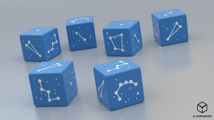 Rendering of Northern Sky Constellation Dice (new color)