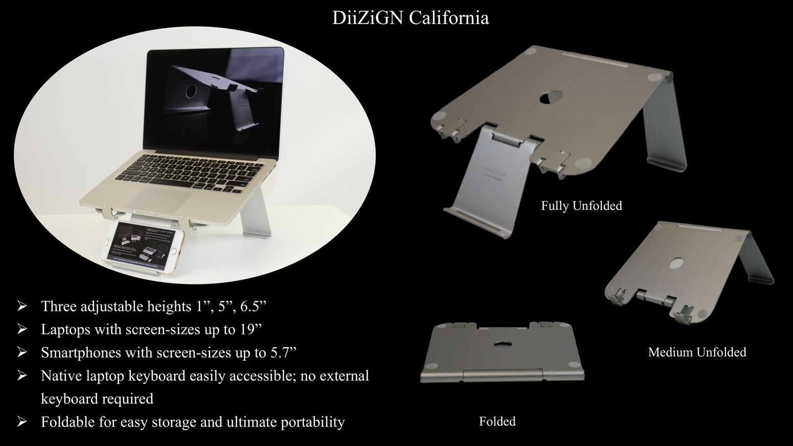 Ergonomically-designed foldable laptop stand with innovative smartphone holder: compatible with Apple Macbook, and other major brands