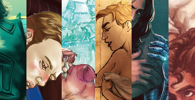 Anthology artwork from Insanaty, CobaltMoony, Helene Boppert, Faun, Max Kennedy, and Riakomai