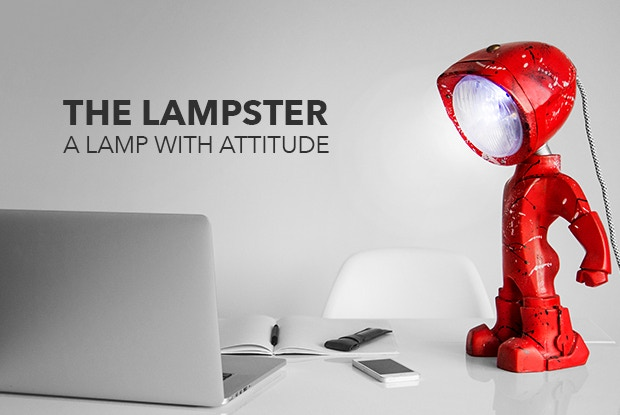 A customizable robo lamp with 2 LED light sources, one RGB controlled by mobile and a clear one controlled by touch!