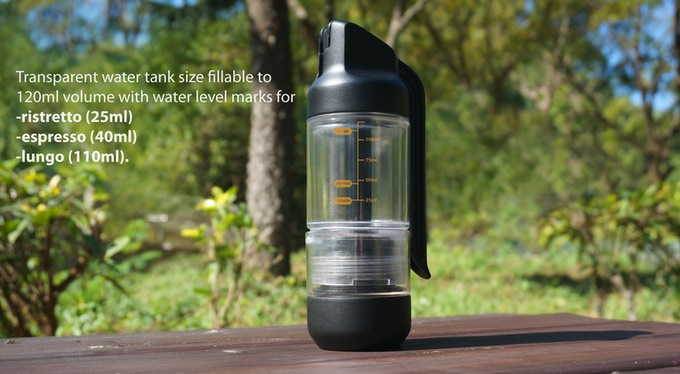 5) One transparent water tank size fillable to 120ml volume with water level marks for ristretto (25ml), espresso (40ml) to lungo (110ml).