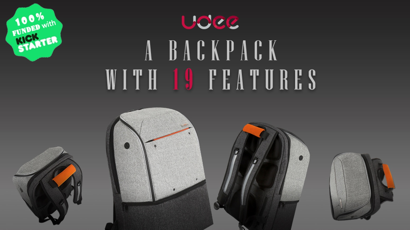 Udee backpack has 19 unique features, making it perfect for everyone from global-trotters, to those just trying to get out of office.