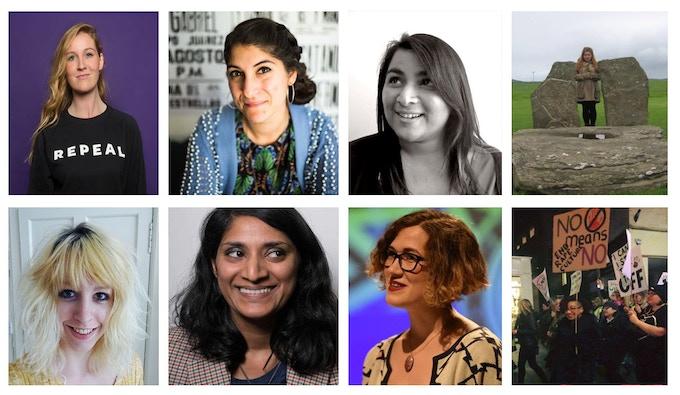 [L-R] Anna Cosgrave, Nadine Aisha Jassat, Sim Bajwa, Aiice Tarbuck, Becca Inglis, Chitra Ramaswamy, Christina Neuwirth, Claire Heuchan