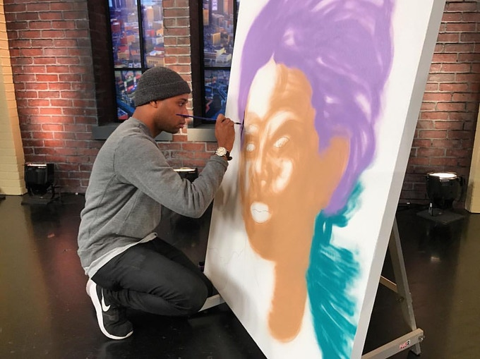 Marlo Broughton live painting on-air