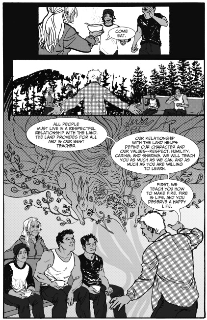 Excerpt from Three Feathers, story by Richard Van Camp, art by Krystal Mateus