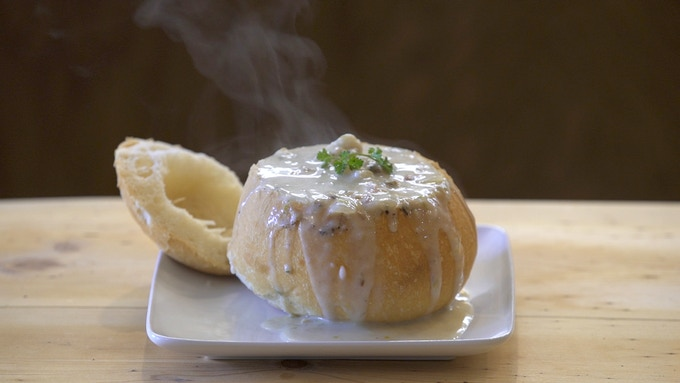 Bacon Clam Chowder in French Bread Bowl