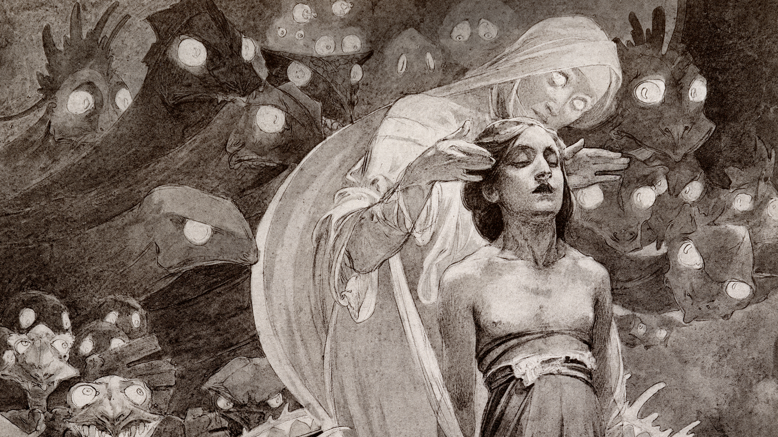 Rare Art Nouveau image from the forthcoming reprint of Alphonse Mucha's mystical 1899 masterpiece in a deluxe limited edition print