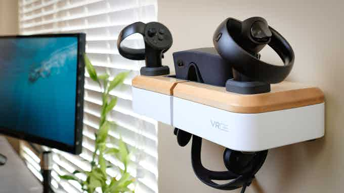 VRGE VR Dock wall mounted with Oculus Rift hardware