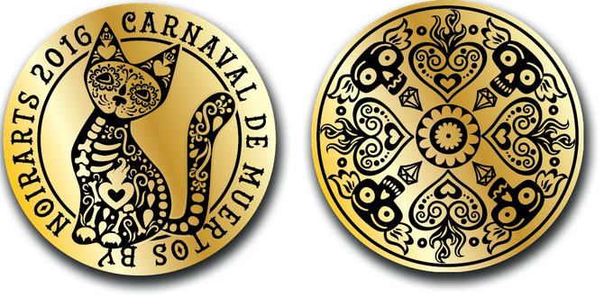 Marigold coin (24K golden plated with black ink)