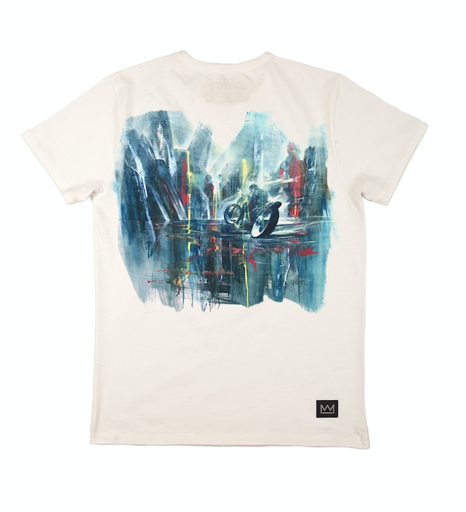 Art printed to t-shirts in unique front and back designs